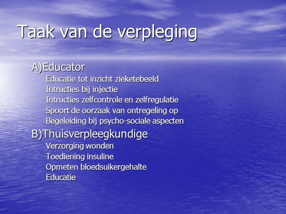 Taak van de verpleging A)Educator B)Thuisverpleegkundige