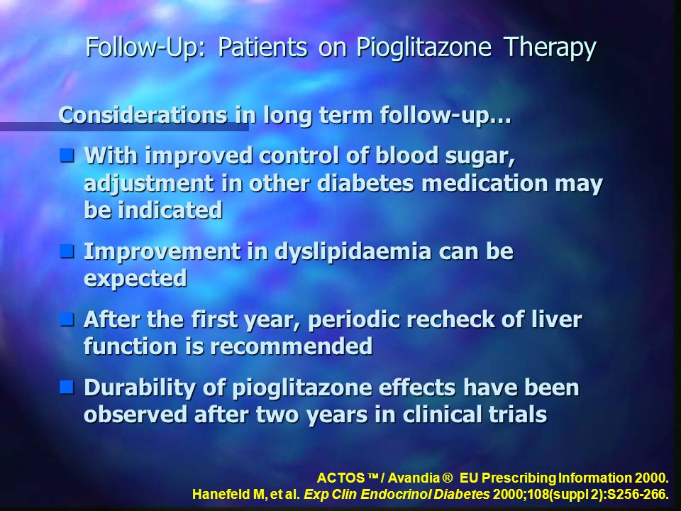 Follow-Up: Patients on Pioglitazone Therapy