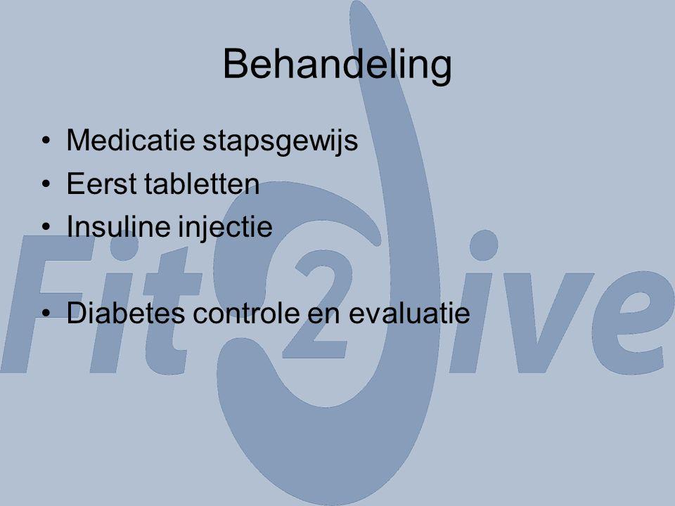 Behandeling Medicatie stapsgewijs Eerst tabletten Insuline injectie