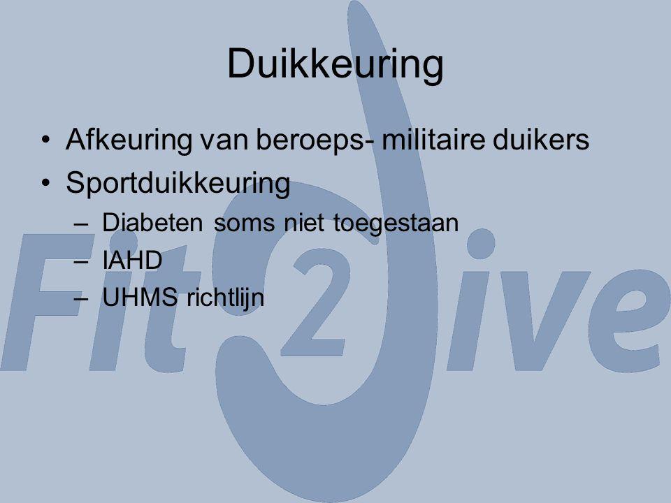 Duikkeuring Afkeuring van beroeps- militaire duikers Sportduikkeuring