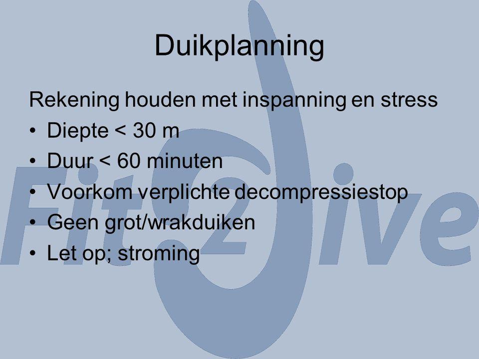 Duikplanning Rekening houden met inspanning en stress Diepte < 30 m