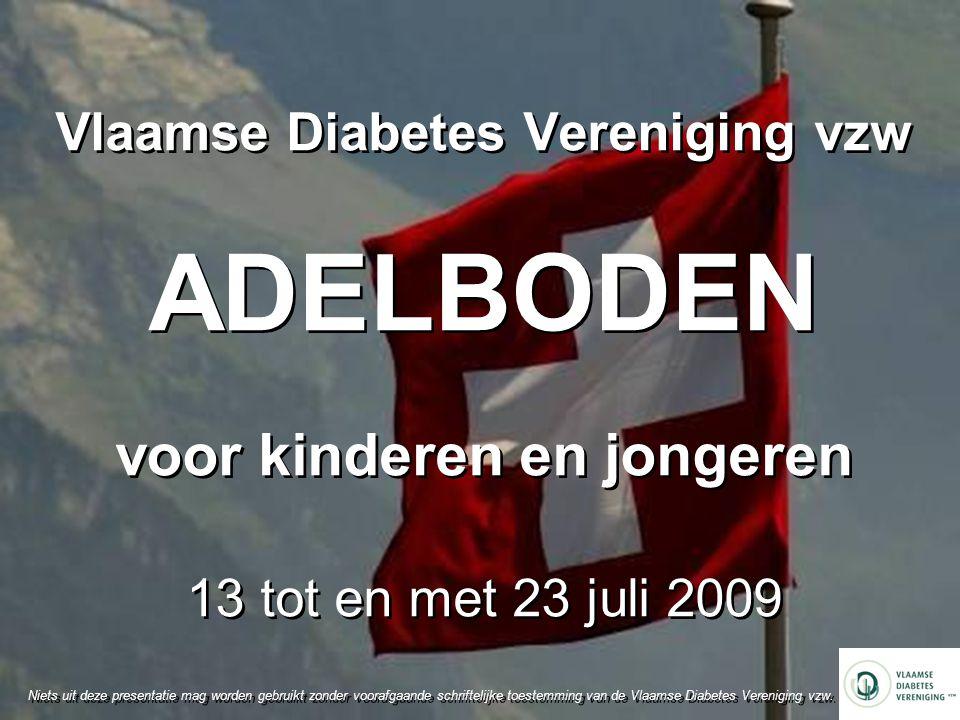 Vlaamse Diabetes Vereniging vzw ADELBODEN voor kinderen en jongeren 13 tot en met 23 juli 2009