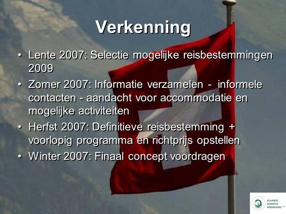 Verkenning Lente 2007: Selectie mogelijke reisbestemmingen 2009