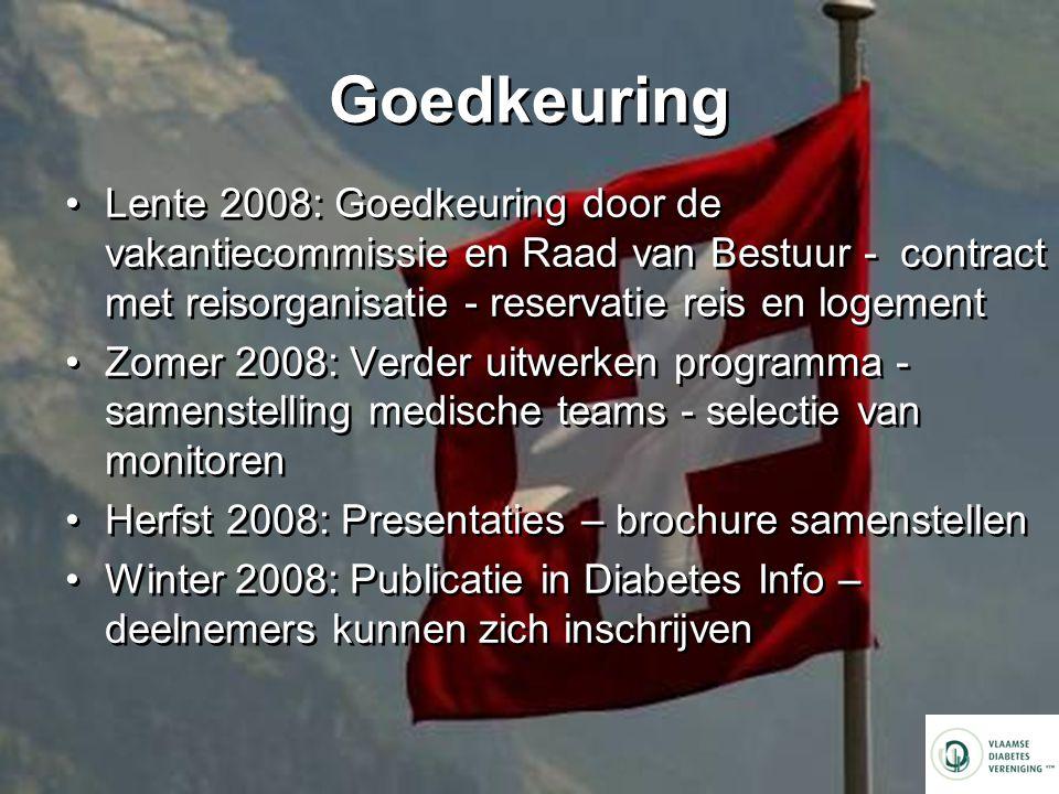 Goedkeuring Lente 2008: Goedkeuring door de vakantiecommissie en Raad van Bestuur - contract met reisorganisatie - reservatie reis en logement.