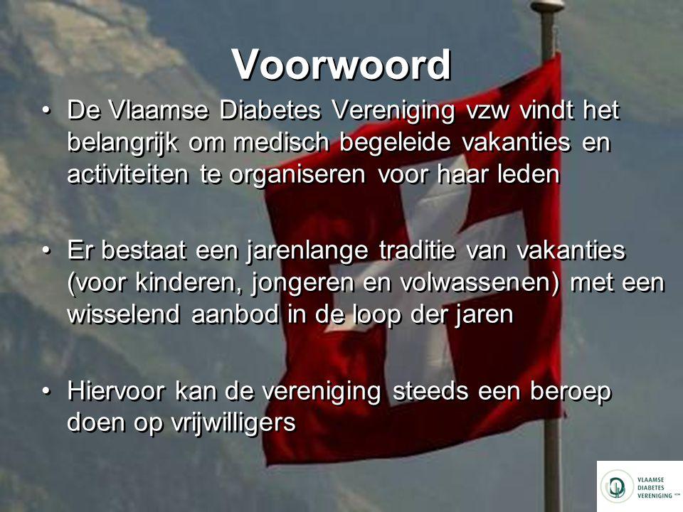 Voorwoord De Vlaamse Diabetes Vereniging vzw vindt het belangrijk om medisch begeleide vakanties en activiteiten te organiseren voor haar leden.