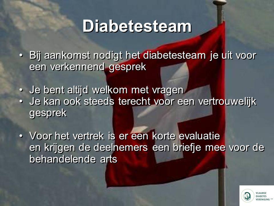 Diabetesteam Bij aankomst nodigt het diabetesteam je uit voor een verkennend gesprek. Je bent altijd welkom met vragen.