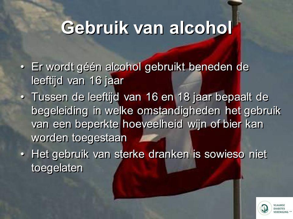 Gebruik van alcohol Er wordt géén alcohol gebruikt beneden de leeftijd van 16 jaar.