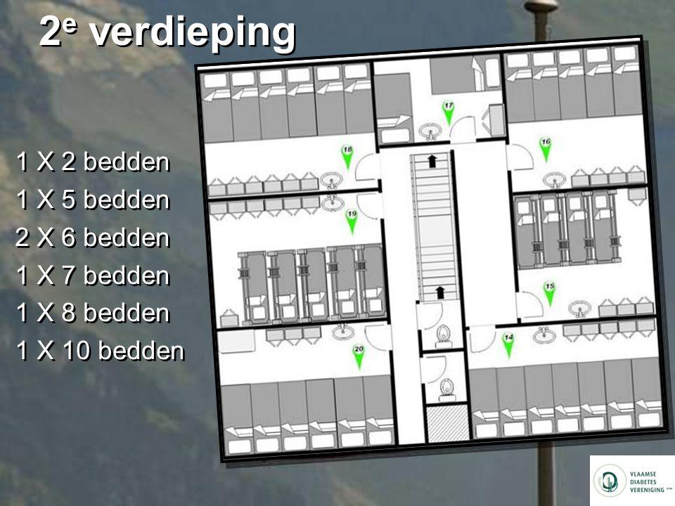 2e verdieping 1 X 2 bedden 1 X 5 bedden 2 X 6 bedden 1 X 7 bedden