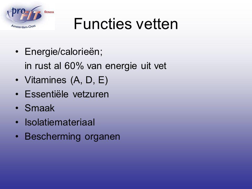 Functies vetten Energie/calorieën; in rust al 60% van energie uit vet