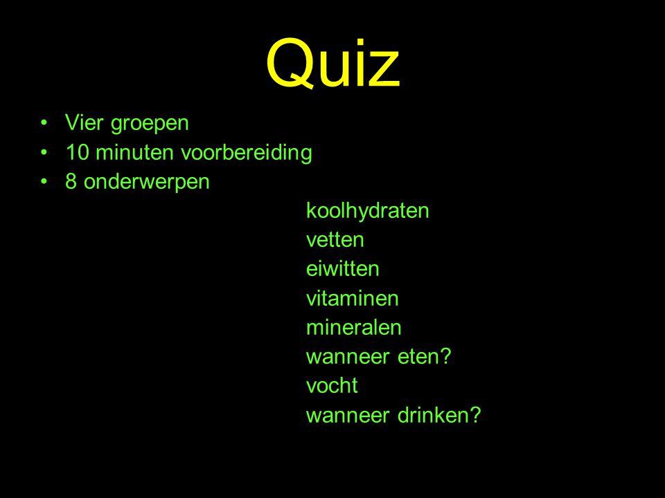 Quiz Vier groepen 10 minuten voorbereiding 8 onderwerpen koolhydraten