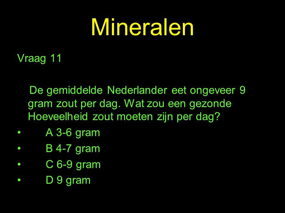 Mineralen Vraag 11. De gemiddelde Nederlander eet ongeveer 9 gram zout per dag. Wat zou een gezonde Hoeveelheid zout moeten zijn per dag