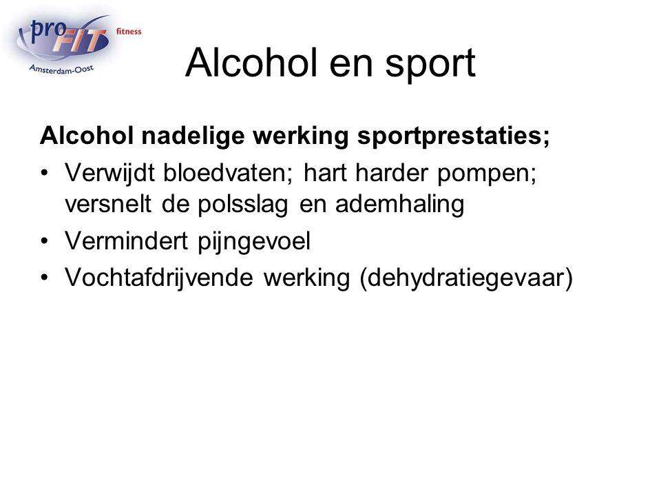 Alcohol en sport Alcohol nadelige werking sportprestaties;