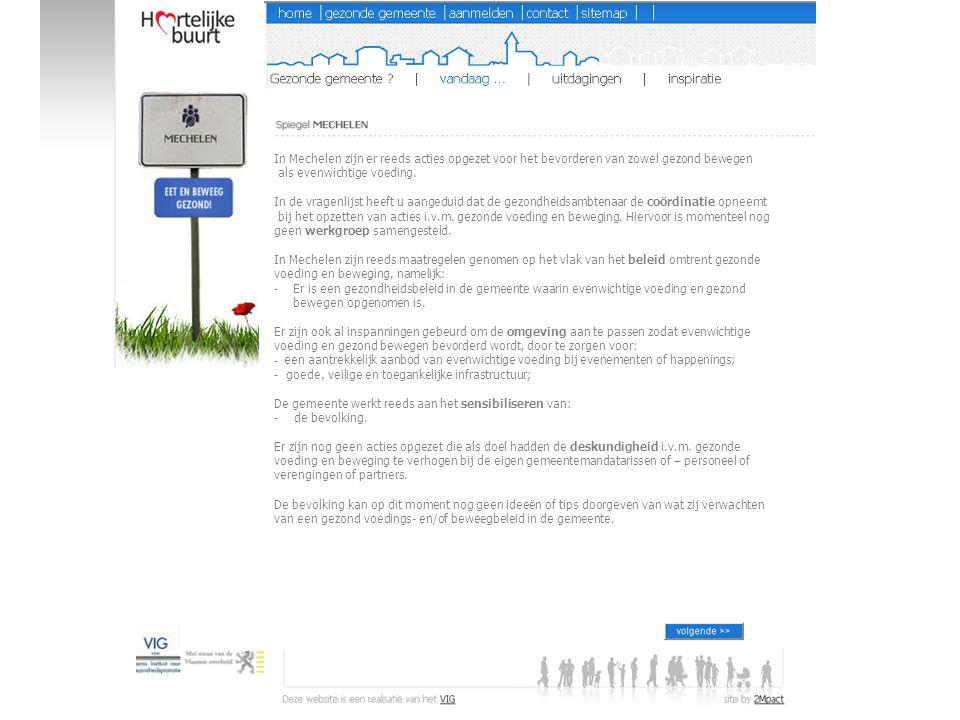 In Mechelen zijn er reeds acties opgezet voor het bevorderen van zowel gezond bewegen