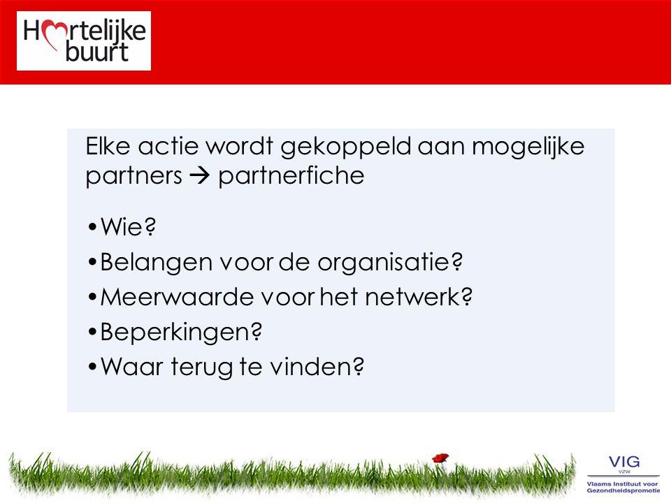 Elke actie wordt gekoppeld aan mogelijke partners  partnerfiche