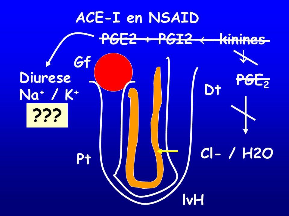 ACE-I en NSAID PGE2 + PGI2  kinines  Gf Diurese PGE2 Na+ / K+ Dt