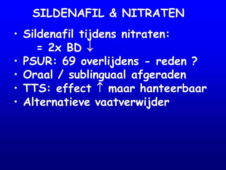 SILDENAFIL & NITRATEN Sildenafil tijdens nitraten: = 2x BD  PSUR: 69 overlijdens - reden Oraal / sublinguaal afgeraden.