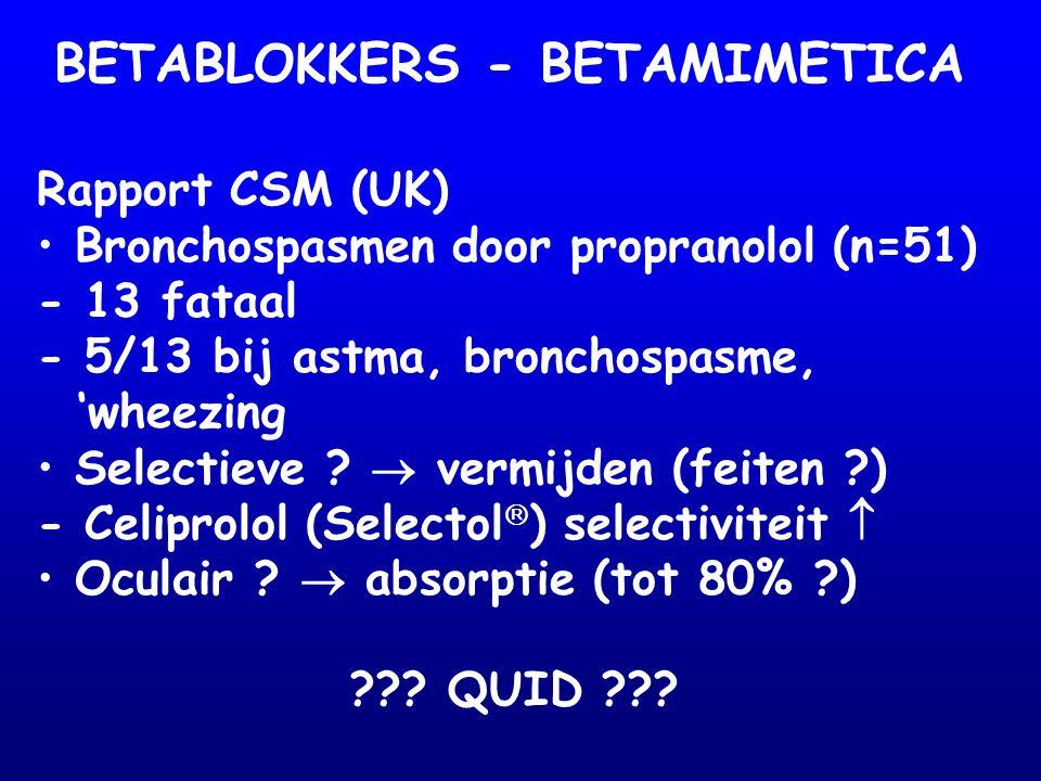 BETABLOKKERS - BETAMIMETICA