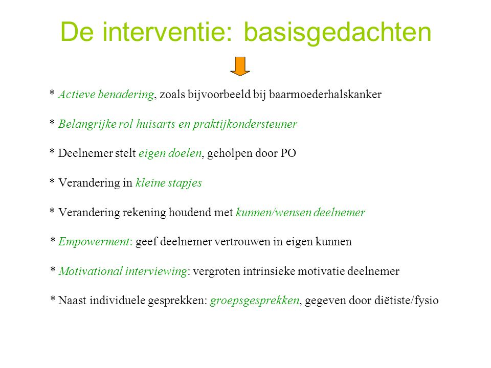 De interventie: basisgedachten