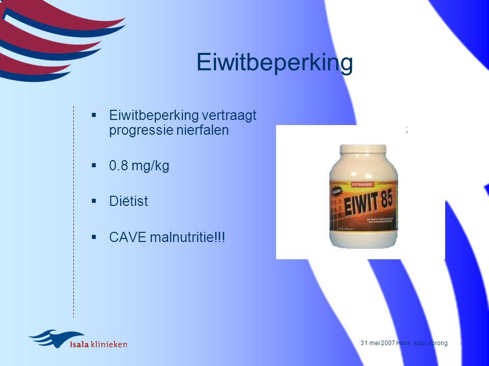 Eiwitbeperking Eiwitbeperking vertraagt progressie nierfalen 0.8 mg/kg