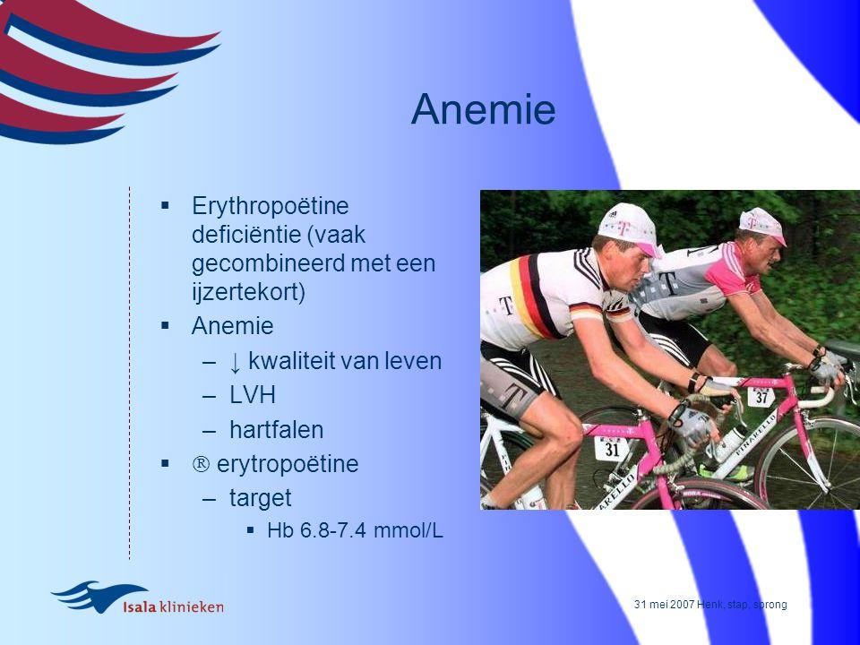 Anemie Erythropoëtine deficiëntie (vaak gecombineerd met een ijzertekort) Anemie. ↓ kwaliteit van leven.