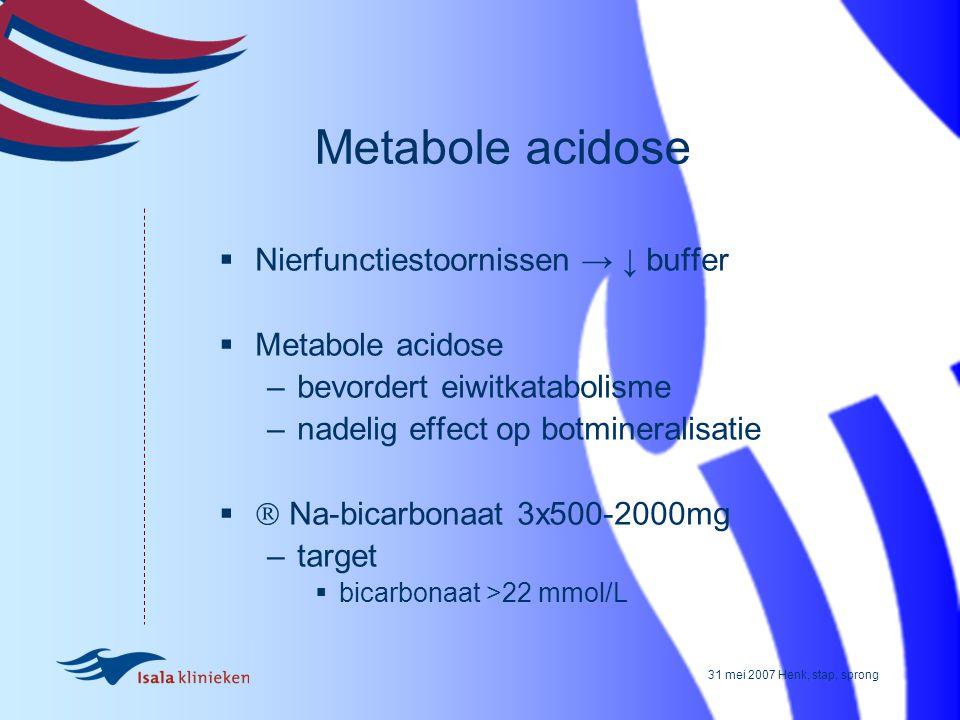 Metabole acidose Nierfunctiestoornissen → ↓ buffer Metabole acidose