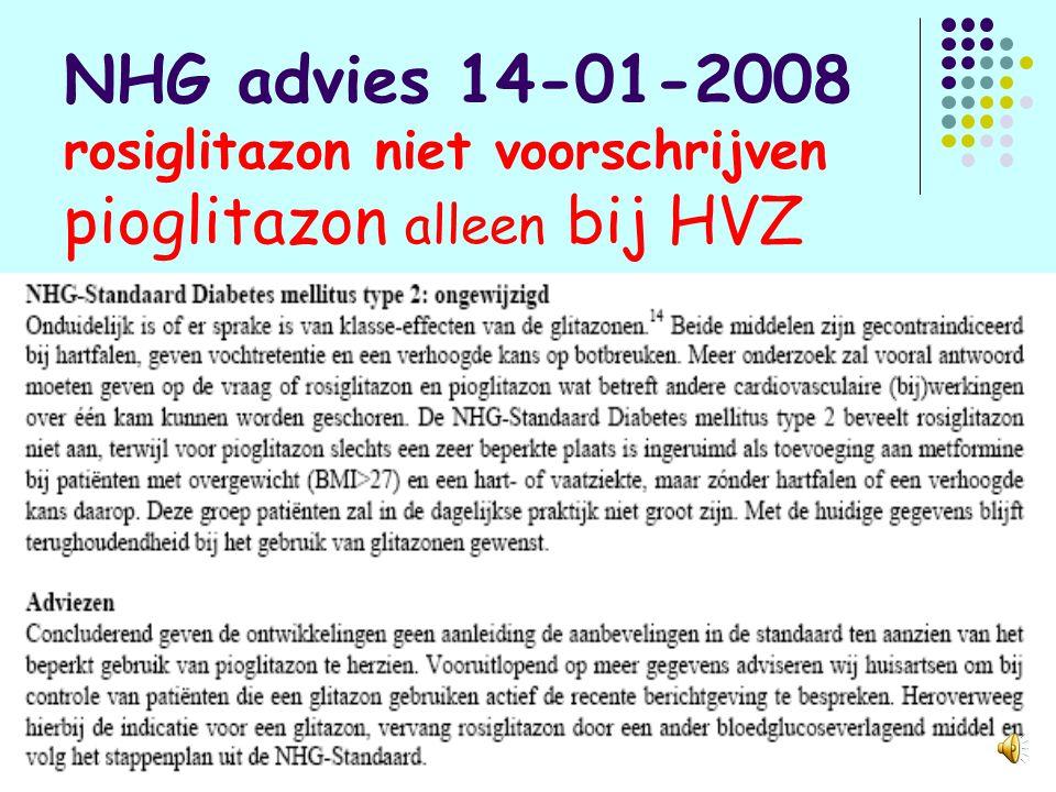 NHG advies 14-01-2008 rosiglitazon niet voorschrijven pioglitazon alleen bij HVZ