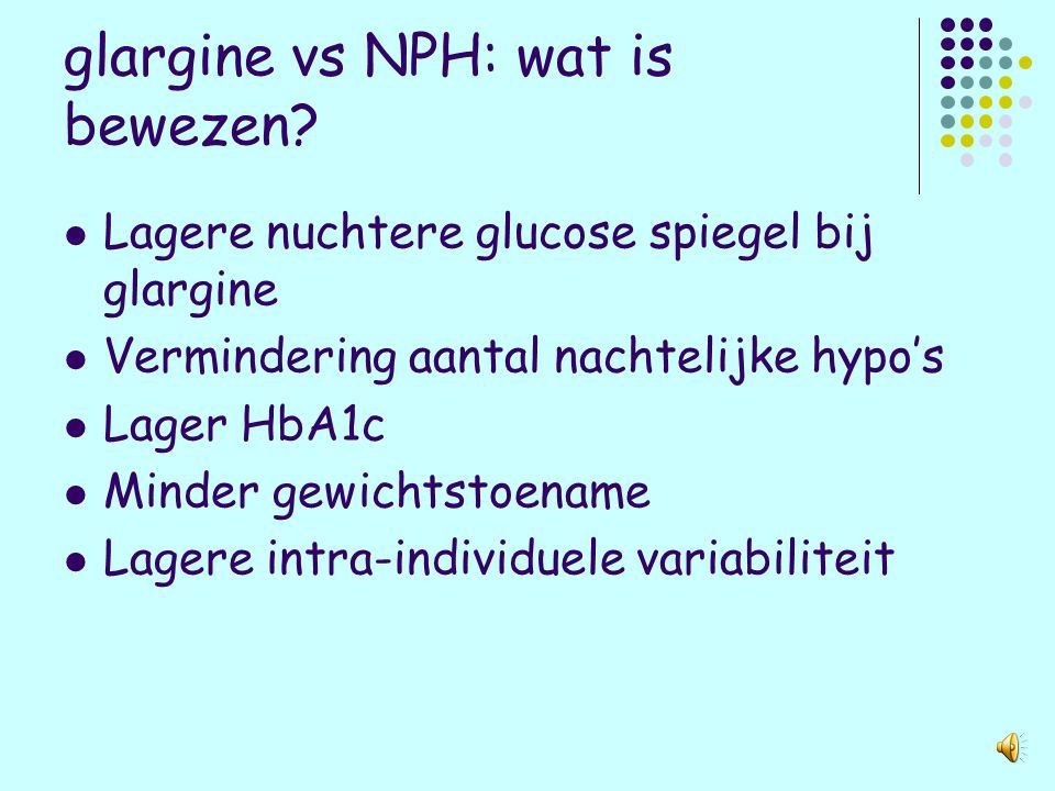 glargine vs NPH: wat is bewezen