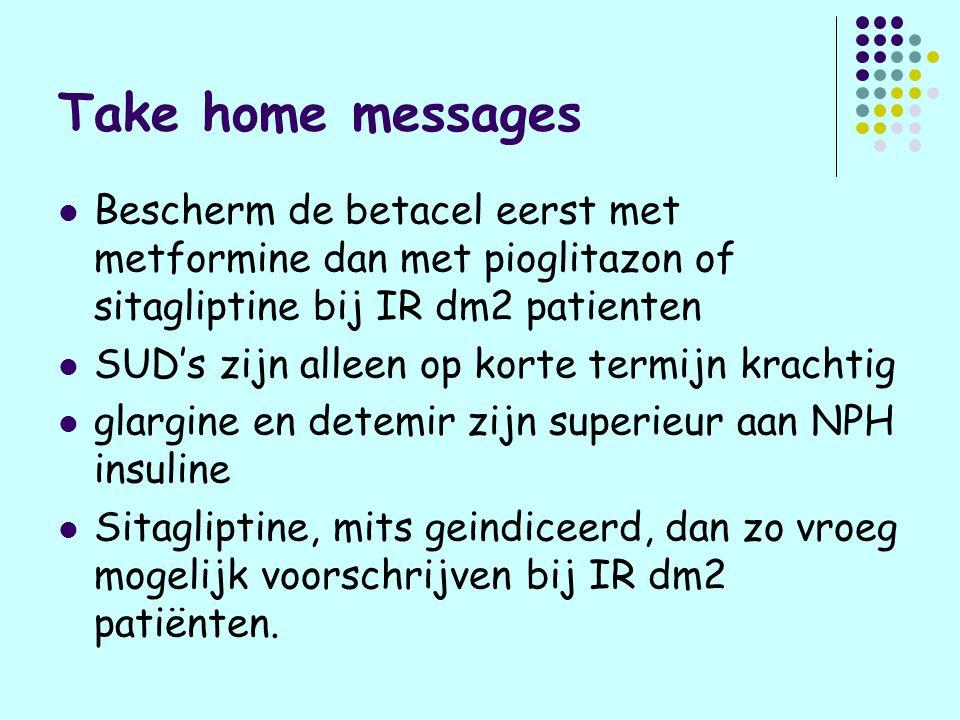Take home messages Bescherm de betacel eerst met metformine dan met pioglitazon of sitagliptine bij IR dm2 patienten.