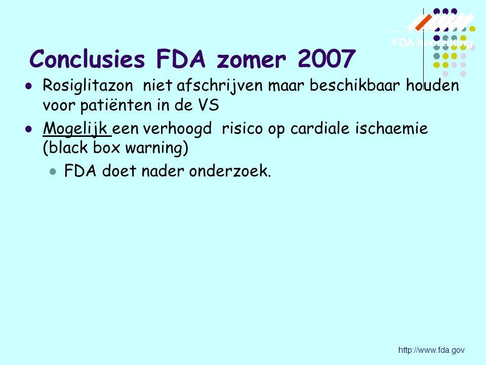 Conclusies FDA zomer 2007 FDA hoorzitting. Rosiglitazon niet afschrijven maar beschikbaar houden voor patiënten in de VS.