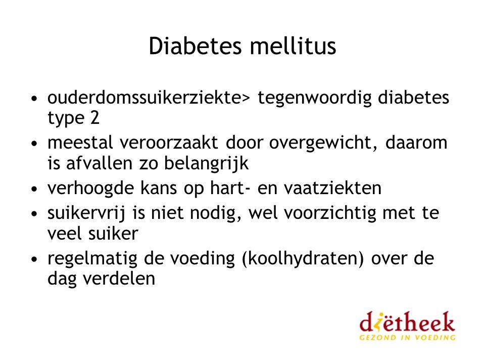 Diabetes mellitus ouderdomssuikerziekte> tegenwoordig diabetes type 2. meestal veroorzaakt door overgewicht, daarom is afvallen zo belangrijk.