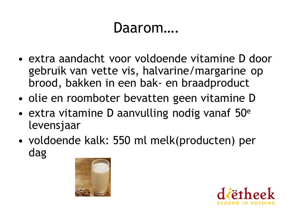 Daarom…. extra aandacht voor voldoende vitamine D door gebruik van vette vis, halvarine/margarine op brood, bakken in een bak- en braadproduct.