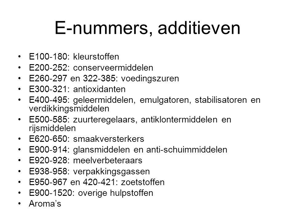 E-nummers, additieven E100-180: kleurstoffen