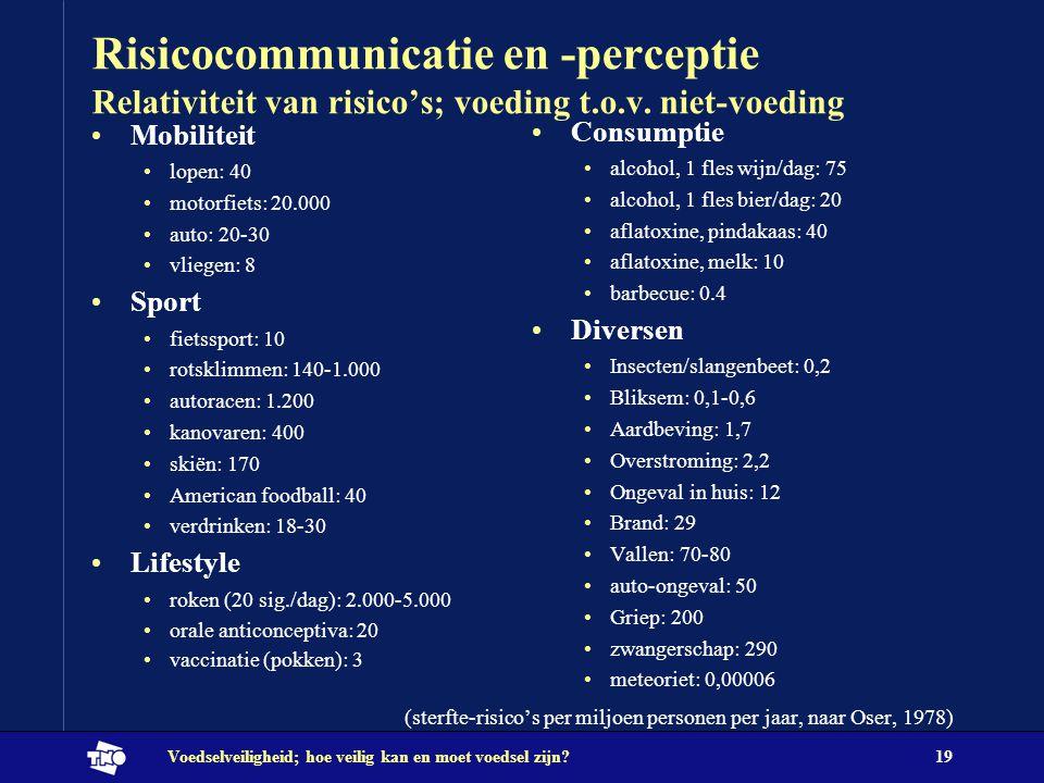 Risicocommunicatie en -perceptie Relativiteit van risico's; voeding t