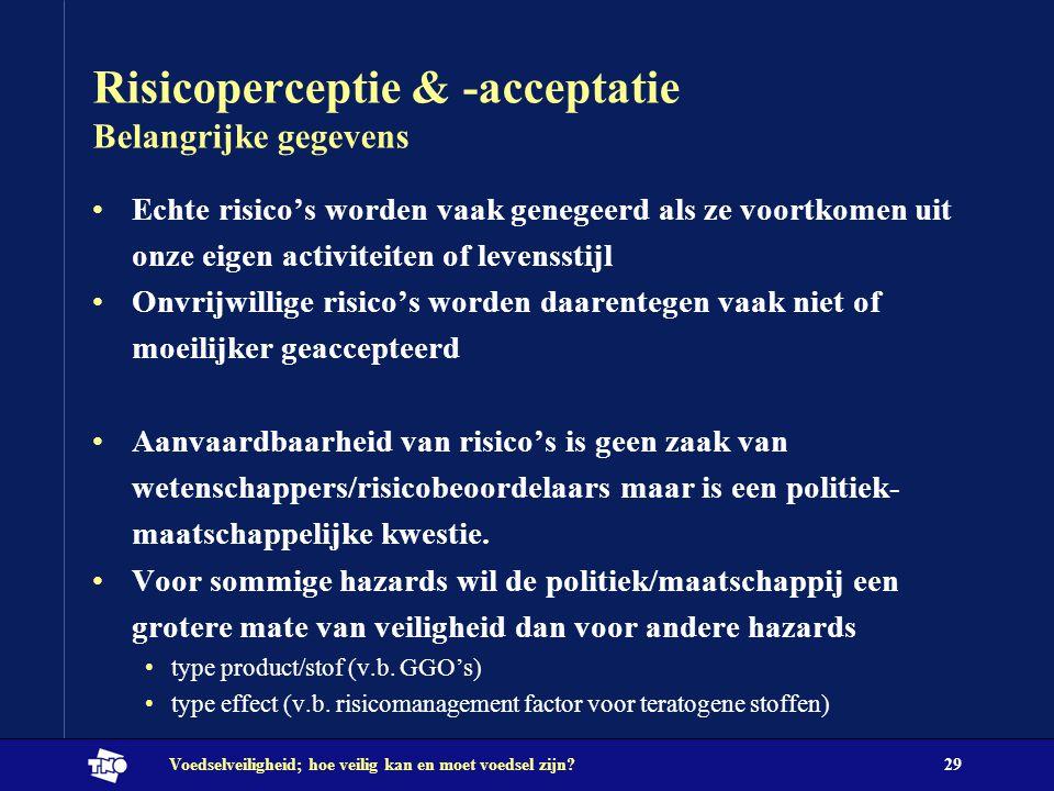 Risicoperceptie & -acceptatie Belangrijke gegevens