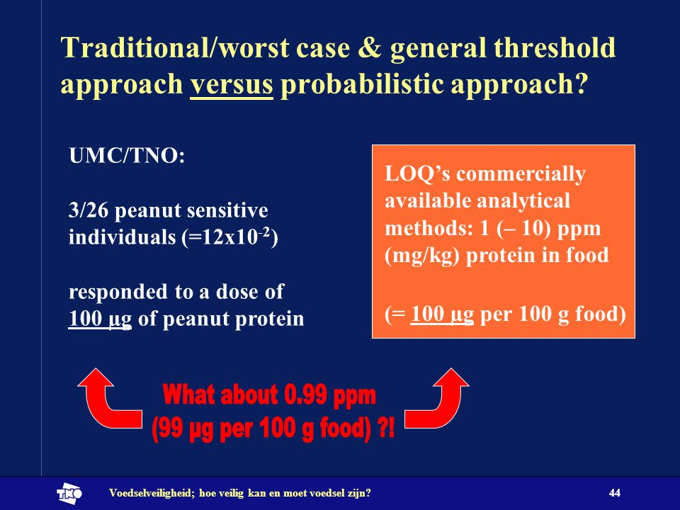 Traditional/worst case & general threshold approach versus probabilistic approach