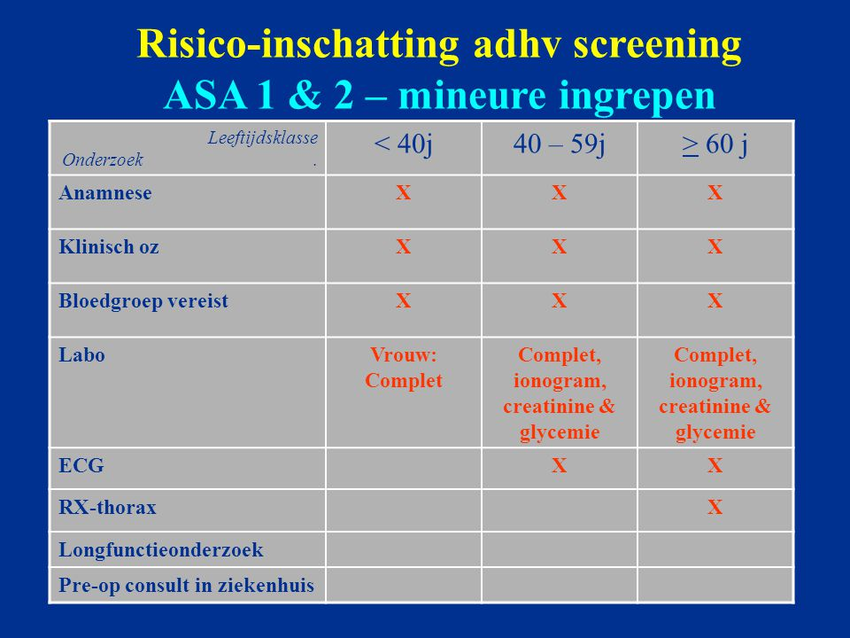Risico-inschatting adhv screening ASA 1 & 2 – mineure ingrepen