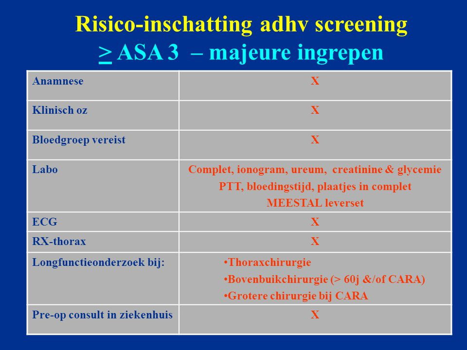Risico-inschatting adhv screening > ASA 3 – majeure ingrepen