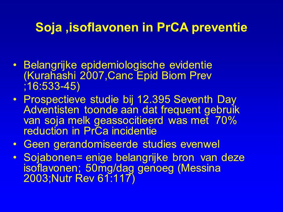 Soja ,isoflavonen in PrCA preventie