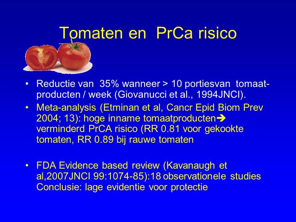 Tomaten en PrCa risico Reductie van 35% wanneer > 10 portiesvan tomaat- producten / week (Giovanucci et al., 1994JNCI).