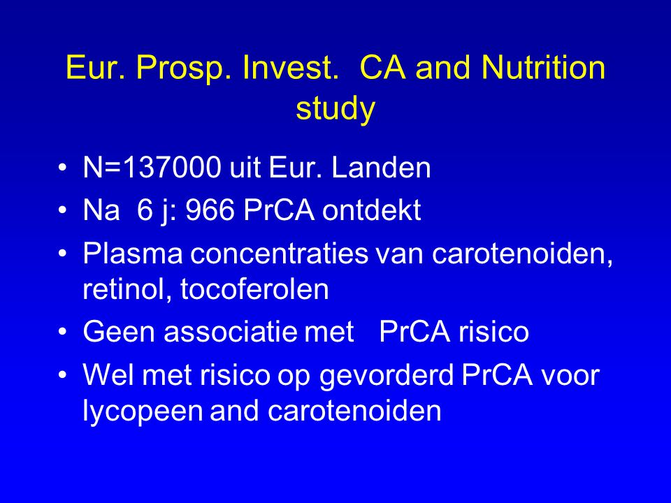 Eur. Prosp. Invest. CA and Nutrition study