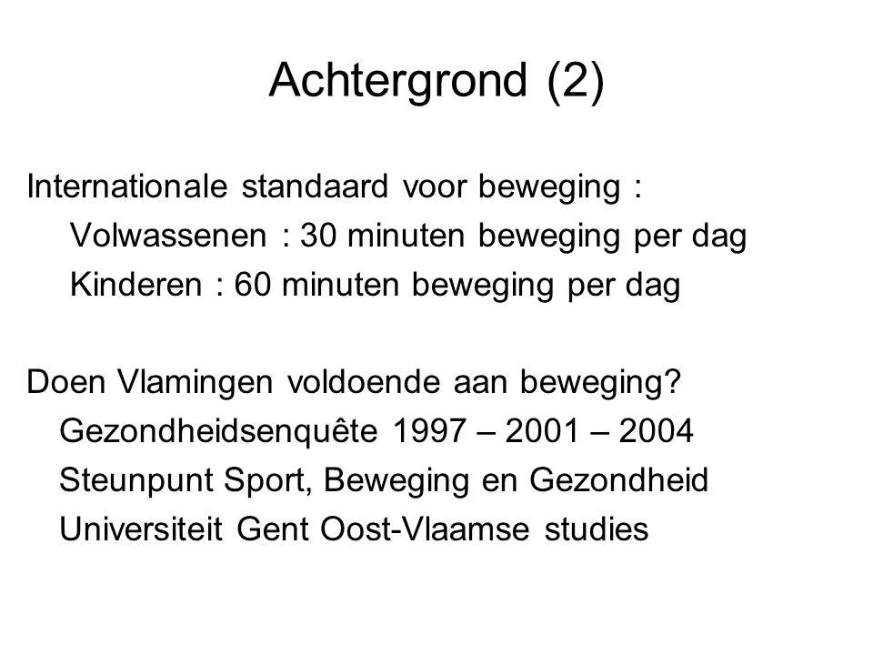 Achtergrond (2) Internationale standaard voor beweging :