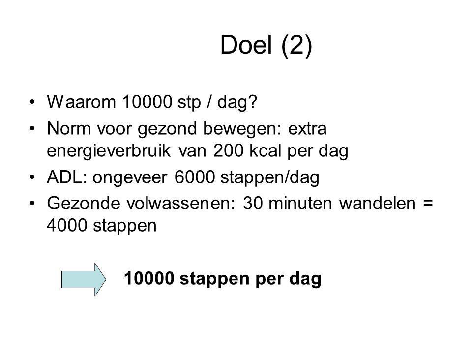 Doel (2) Waarom 10000 stp / dag Norm voor gezond bewegen: extra energieverbruik van 200 kcal per dag.