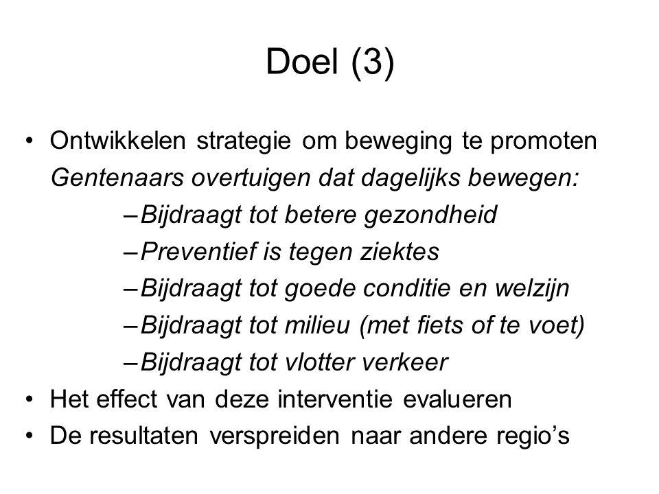 Doel (3) Ontwikkelen strategie om beweging te promoten