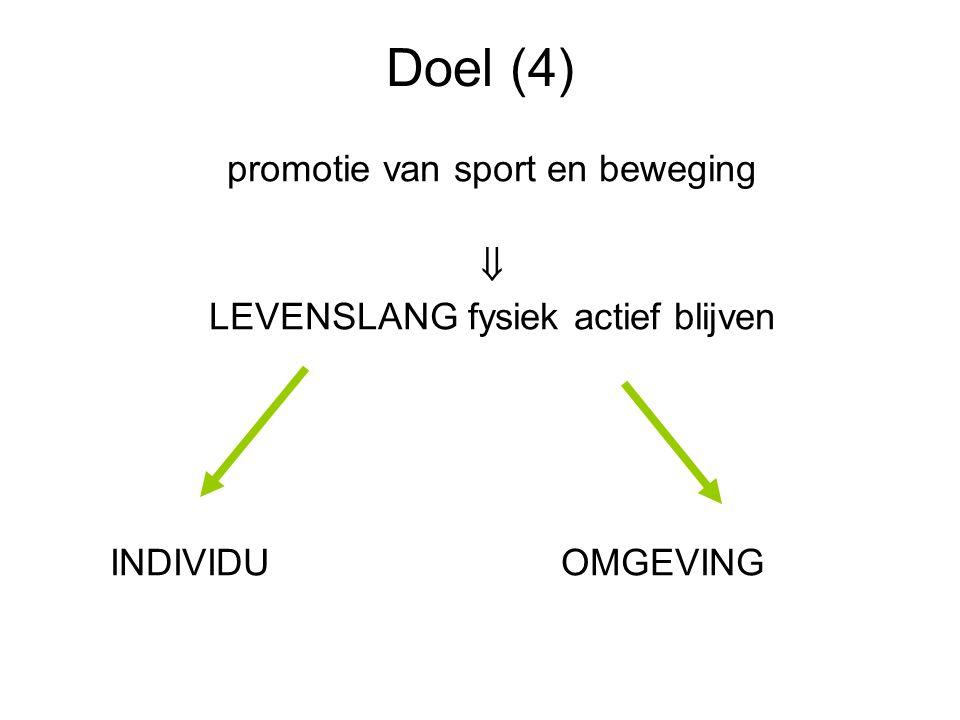 Doel (4) promotie van sport en beweging 