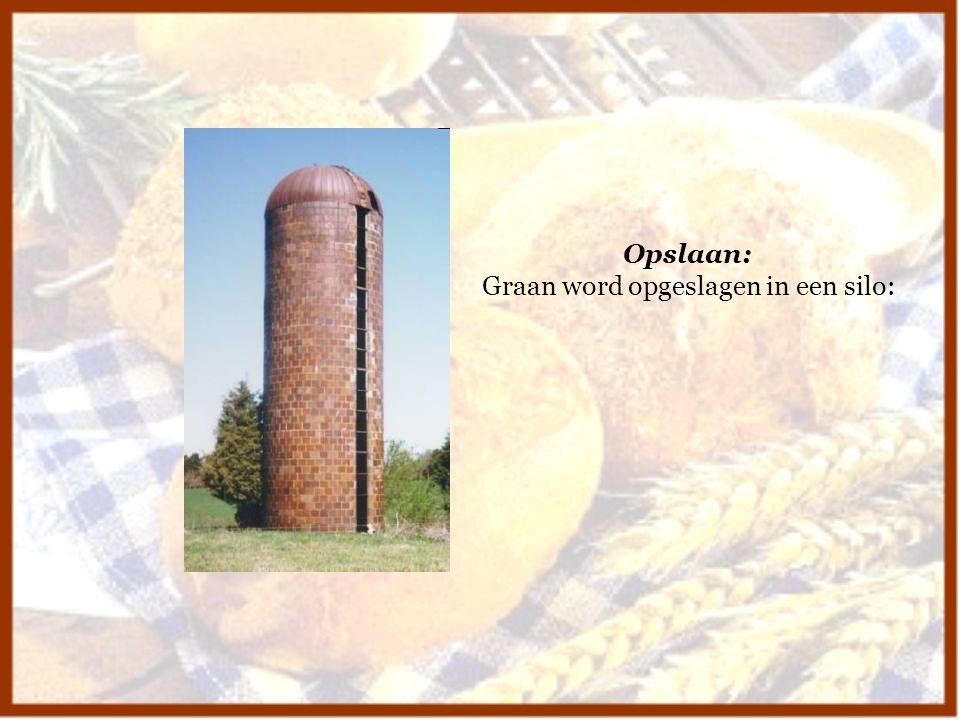 Graan word opgeslagen in een silo: