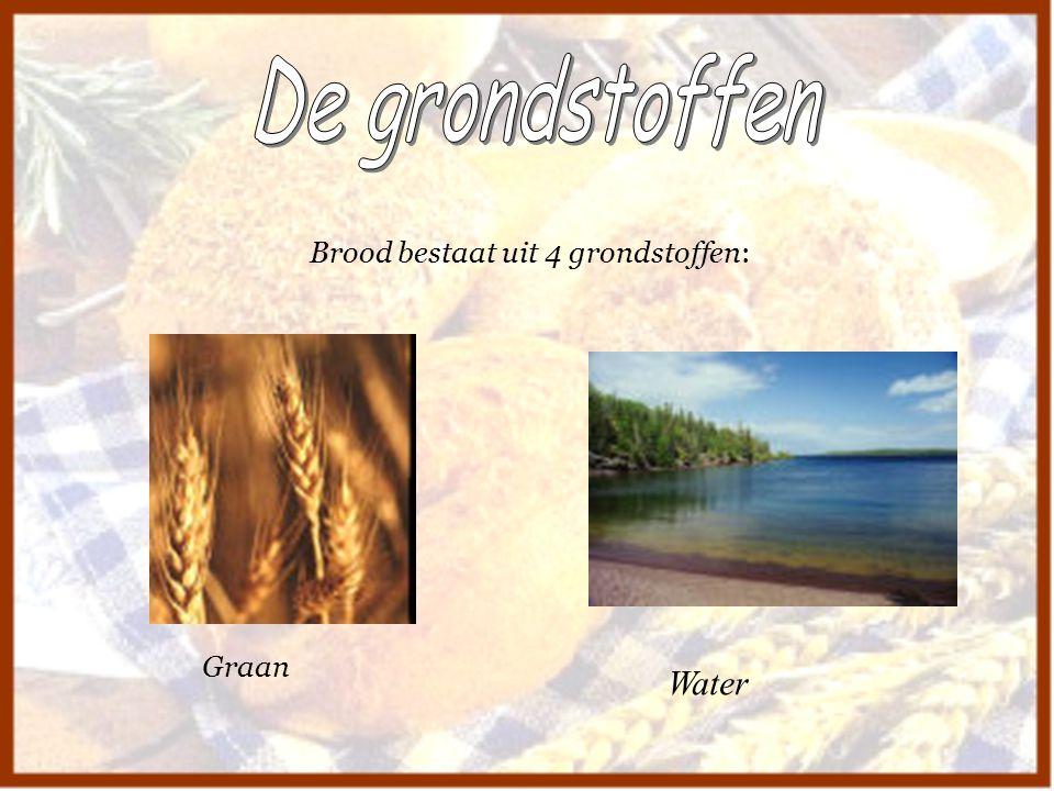 De grondstoffen Brood bestaat uit 4 grondstoffen: Graan Water