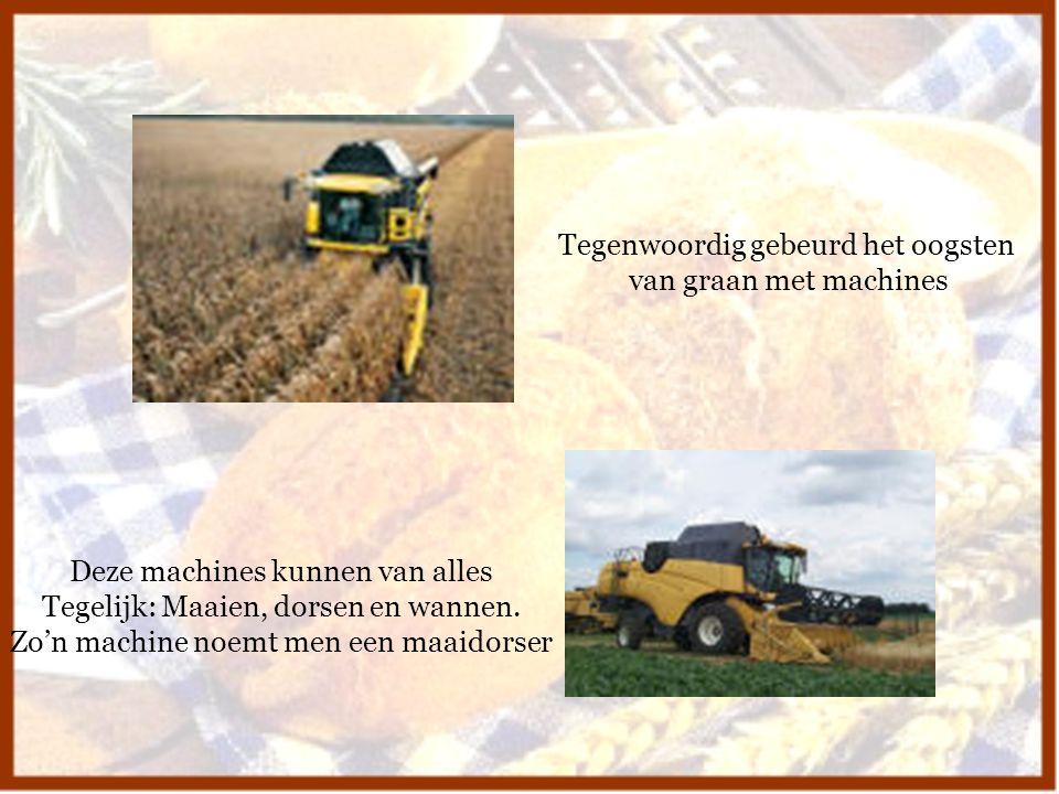 Tegenwoordig gebeurd het oogsten van graan met machines