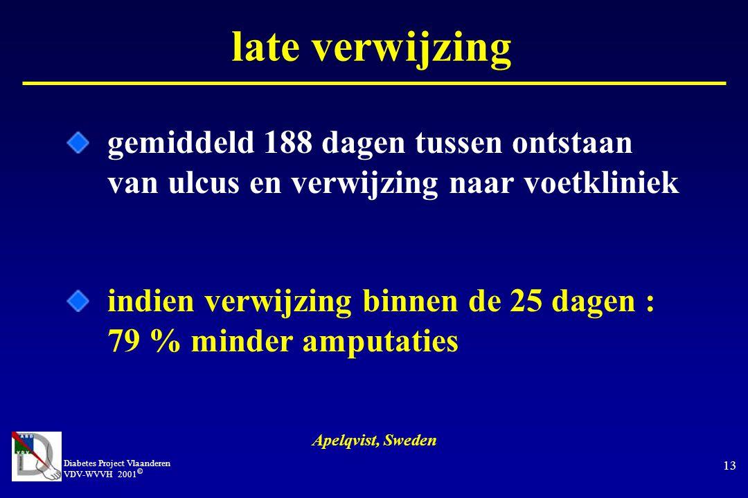 late verwijzing gemiddeld 188 dagen tussen ontstaan van ulcus en verwijzing naar voetkliniek.