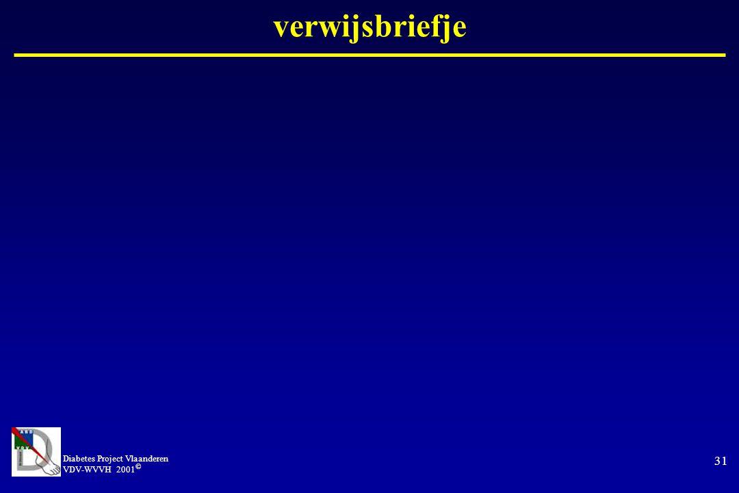 verwijsbriefje Diabetes Project Vlaanderen VDV-WVVH 2001©