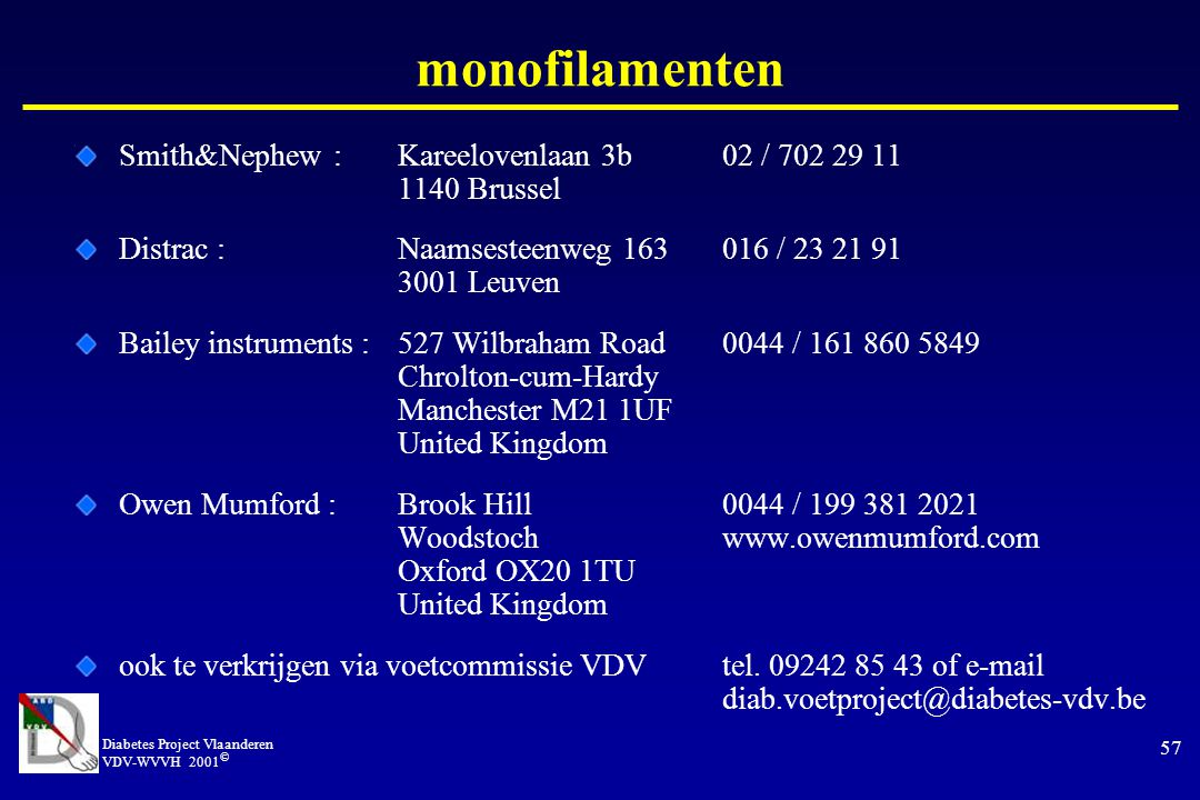 monofilamenten Smith&Nephew : Kareelovenlaan 3b 02 / 702 29 11 1140 Brussel.